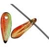 Glass 3X11mm Dagger Red/Apple Green Strung Beads